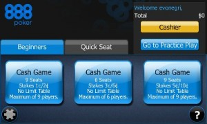 888-poker iPhone app lobby